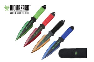 4 Pcs Biohazard Zombie Killer Throwing Knife Set Multi Colors with Sheath 9 inches Thrower - A71774ASTD