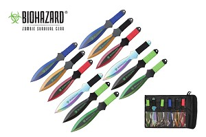 Biohazard 12 Pc Zombie Killer Throwing Knife Set Multi Colors with Sheath 9 inches Thrower  A7377-12-ASTD