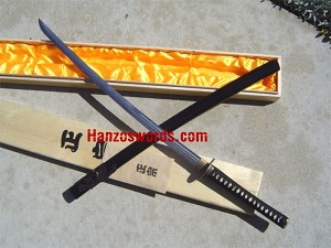 Bishamon Fully Functional Forged #60 High Carbon Steel Katana Sword, Same (Ray Skin) Handle with FREE Wooden Storage Box