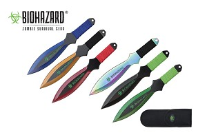 6 Pcs Biohazard Zombie Killer Throwing Knife Set Multi Colors with Sheath 9 inches Thrower - A73776ASTD