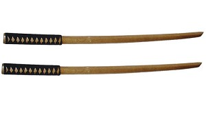 Set of Two - 40 Inch Natural Wood Bokken - Black Japanese Style Wrapped Handle