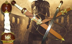 General Maximus Decimus Meridius Roman Gladiator Sword with Back / Shoulder Ricasso Scabbard