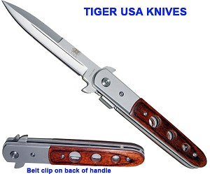 "9"" Stiletto style folding knife w/ blood groove- Silver/ Rosewood"