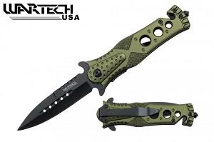 Godfather Stiletto Style Green Spring Assisted Knife 7""
